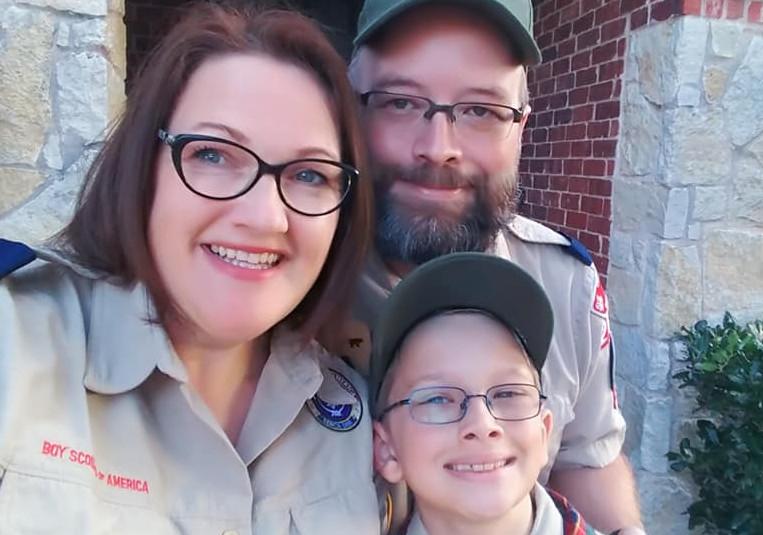 Art Merit Badge Counselor, Arist Sandra Mucha, Dan Mucha, Cub Pack leader, Arrow of Light Scout