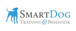 Business logo, blue dog silhouette with the words Smart Dog Training and Behavior