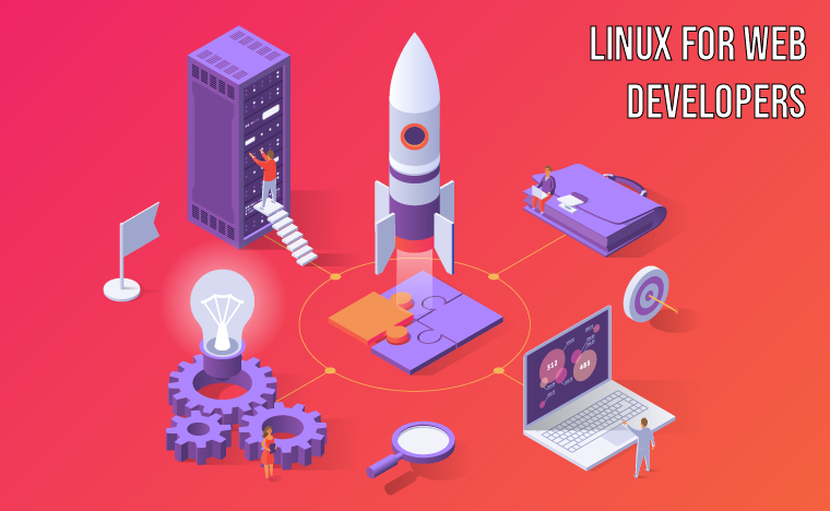 A beautiful red and purple image featuring busy people working on a big data server while a rocket launches.  It's meant to invoke a sense of accomplishment as this course aims to make you proficient at setting up production-grade web servers.