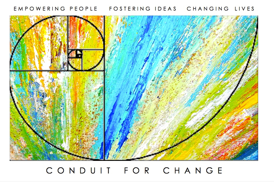 colorful fibonacci spiral, empowering people, fostering ideas, changing lives, conduit for change