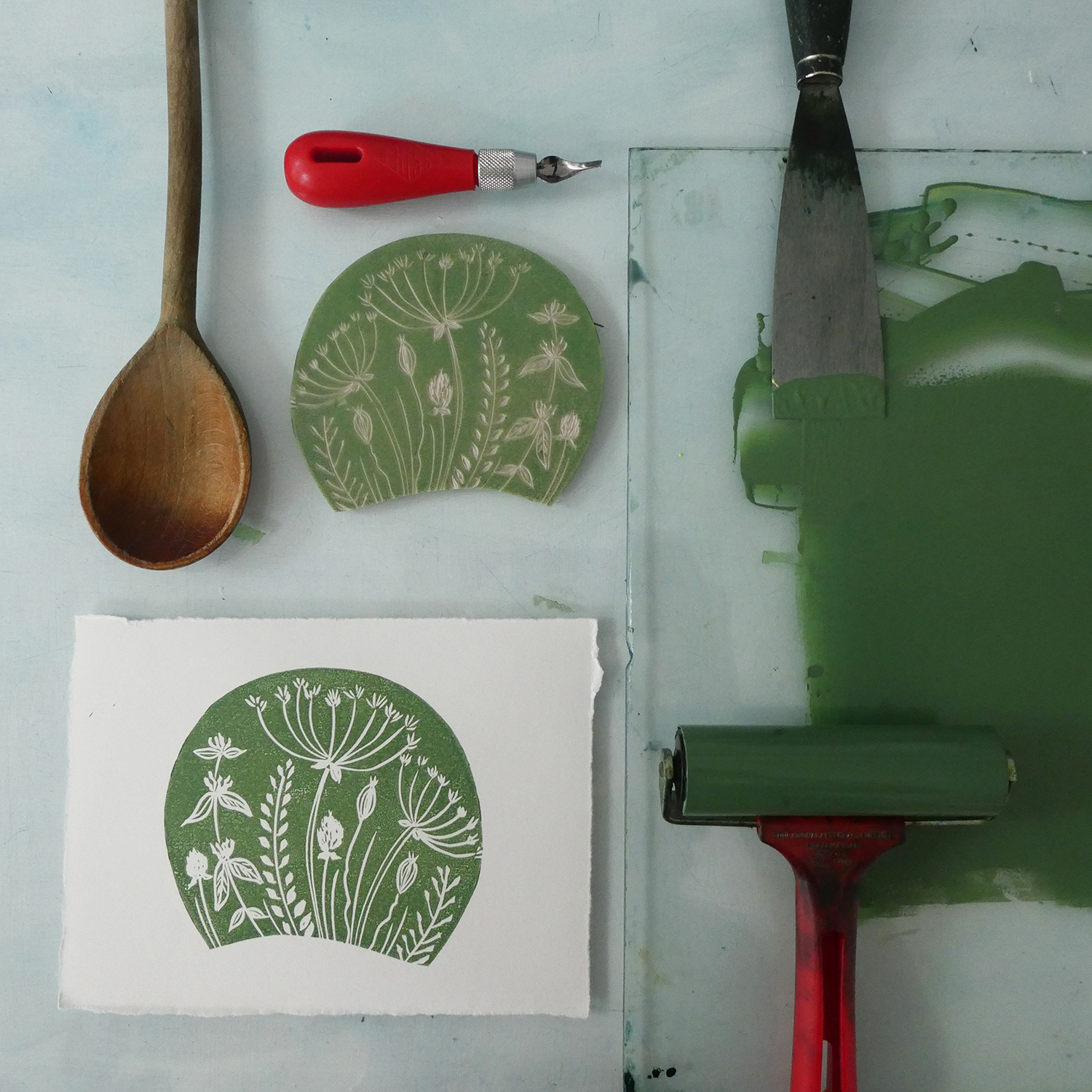 Learn how to print by hand using water-based inks