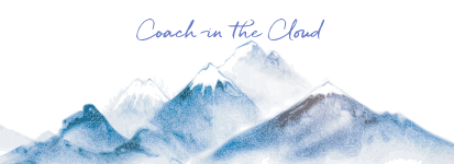 mountains with coach in the cloud written above