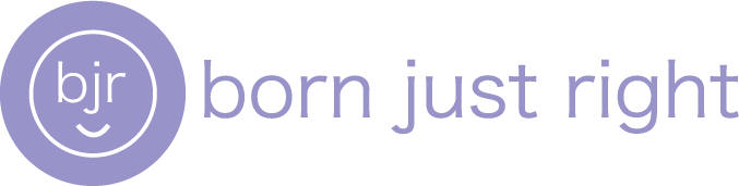A circular purple logo with a white bjr in the middle and a smile below. To the right of the logo are the words