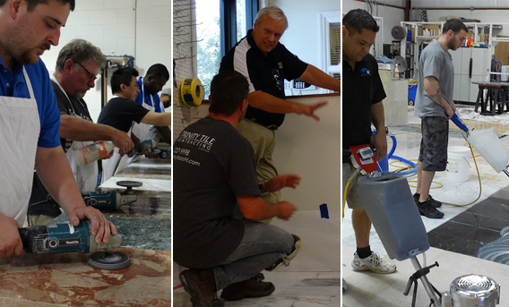 Hands-on training at The Stone and Tile School