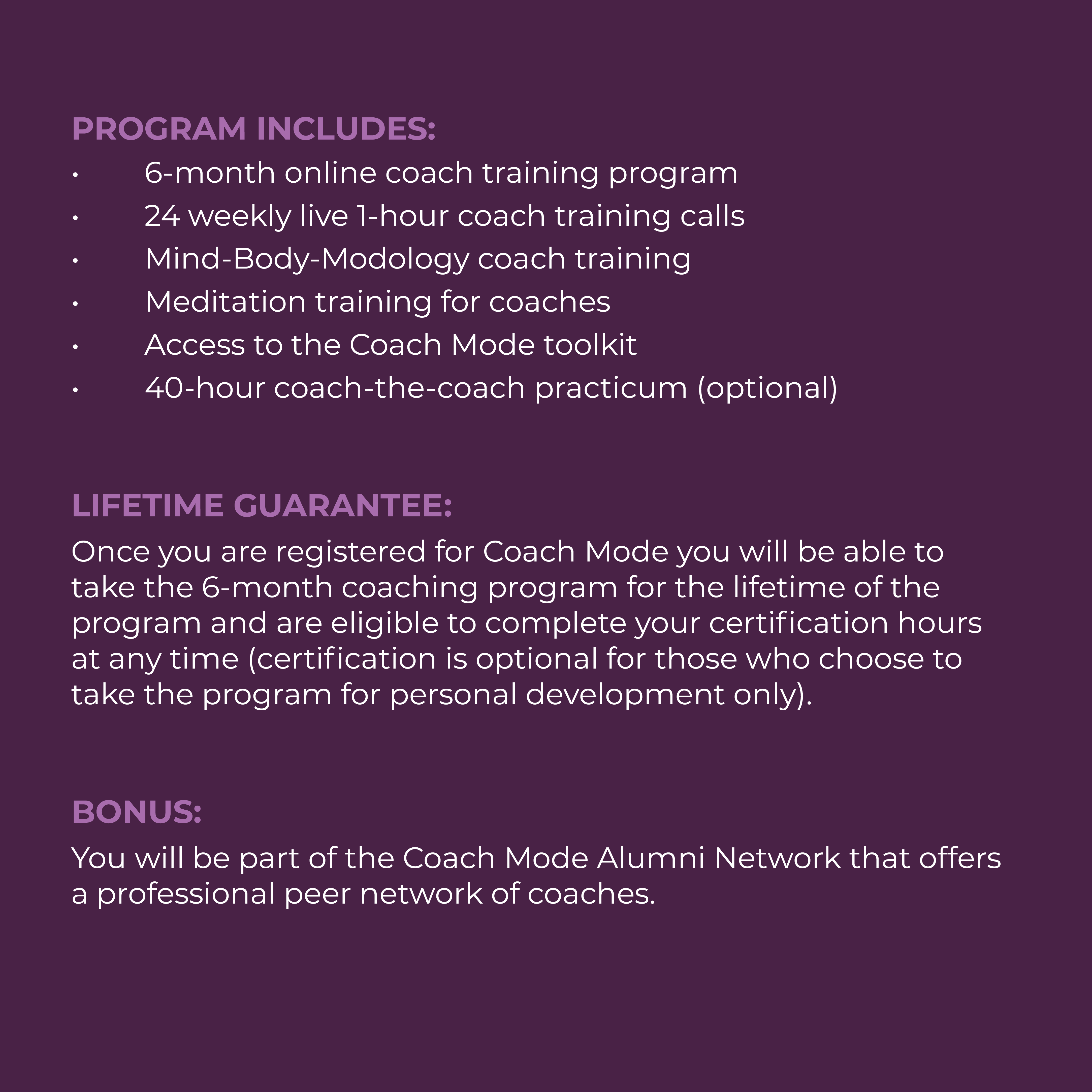 Program details for Coach Mode