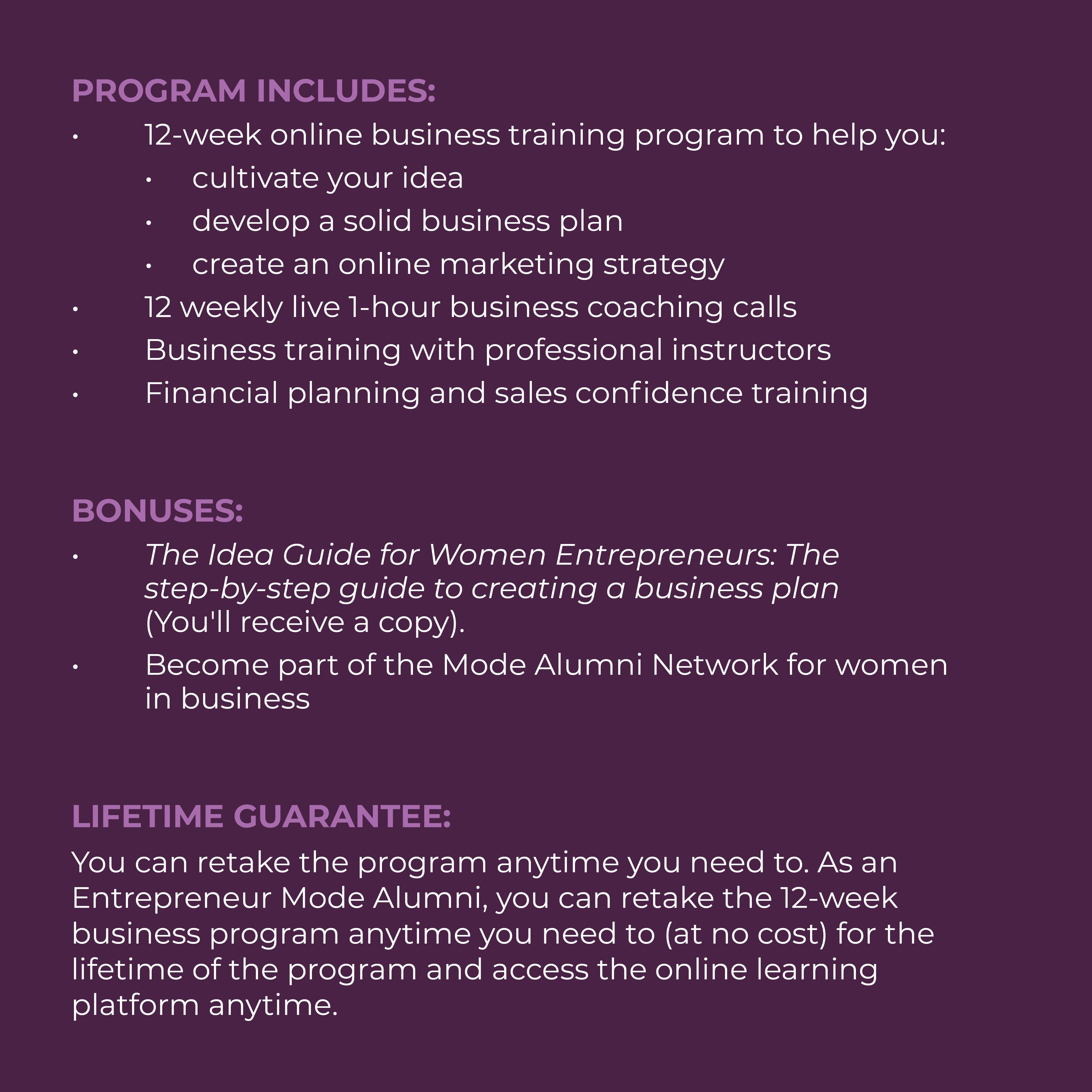 Program details for the Entrepreneur Mode