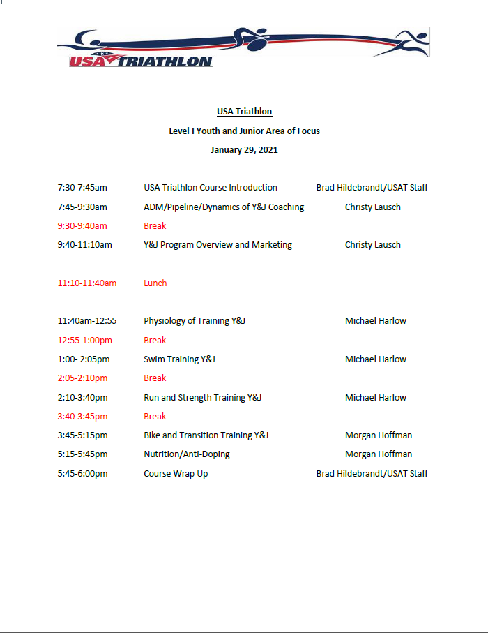 Youth and Junior Clinic Schedule