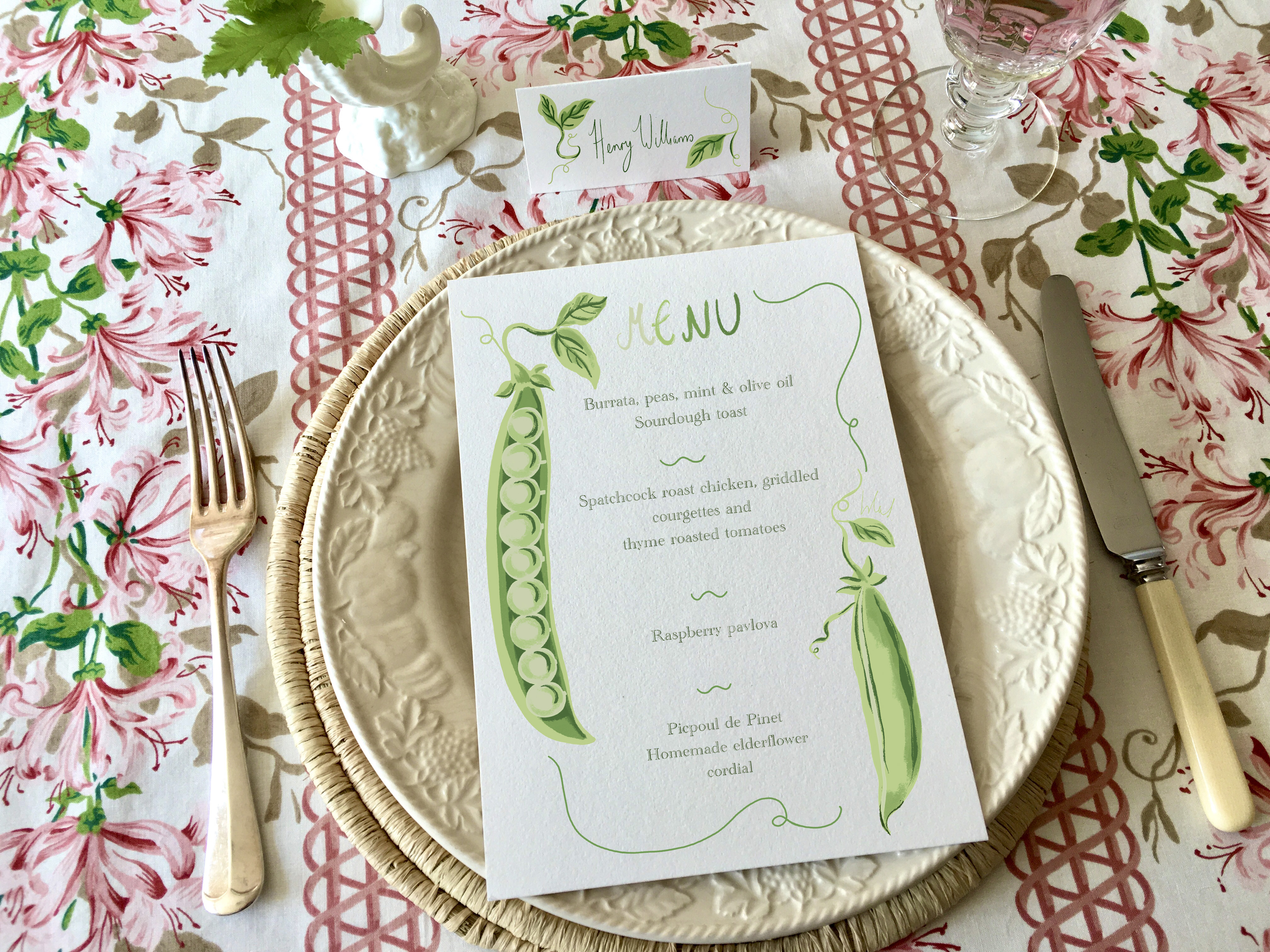 Two peas in a pod menu and place card design
