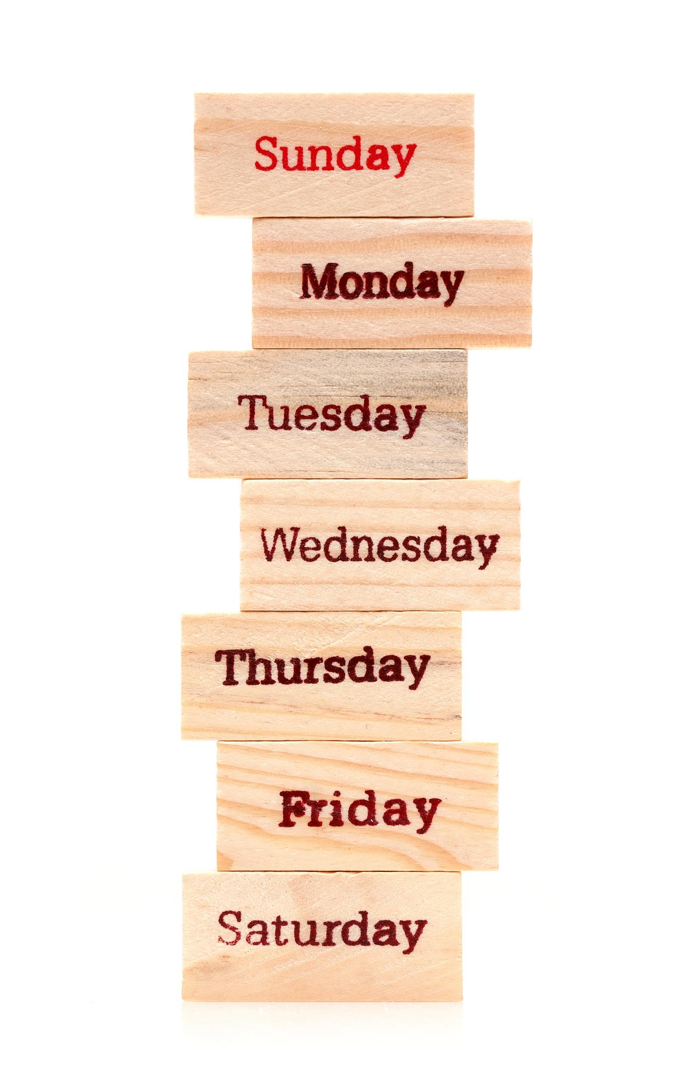 Days of week written on stacked blocks
