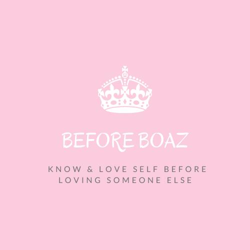 Before Boaz™ logo with pink background, white crown, and tagline