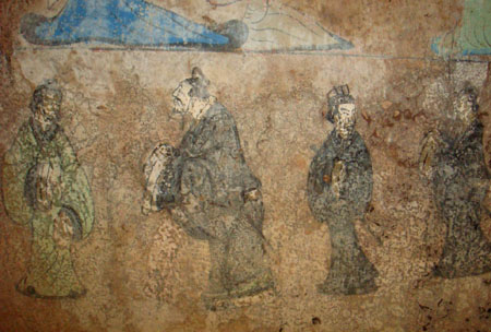 Confucius and Laozi fresco from a Western Han tomb of Dongping County, Shandong province China