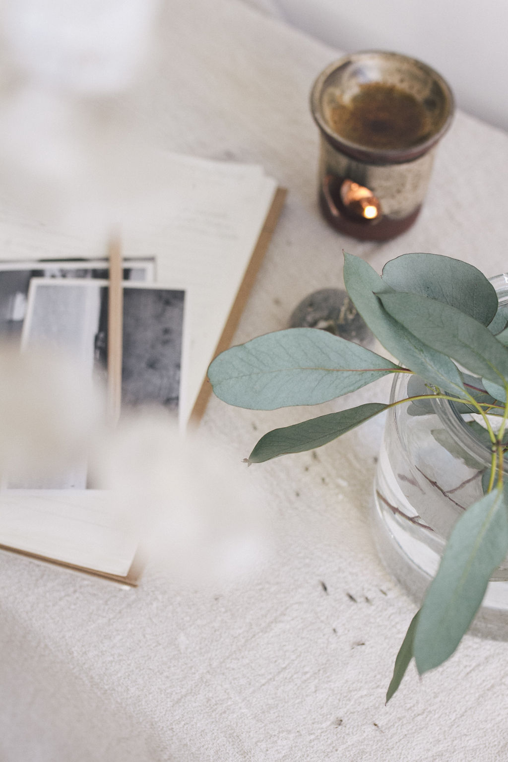 Calming photo of notebook, printed photos, candle, and eucalyptus leaves in a glass vase