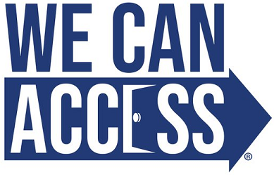 The we can access logo, comprising the words 'we can access'. The word access is held within an arrow and the letter E is a stylised door.