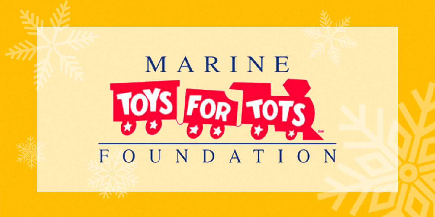 Toys for Tots logo which is a flat illustration of a red toy train with three cars. The left car reads