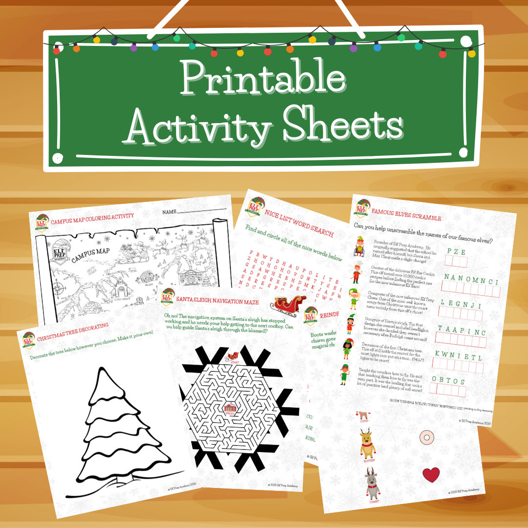 Text reads Activity Sheets showing several printable activity worksheets
