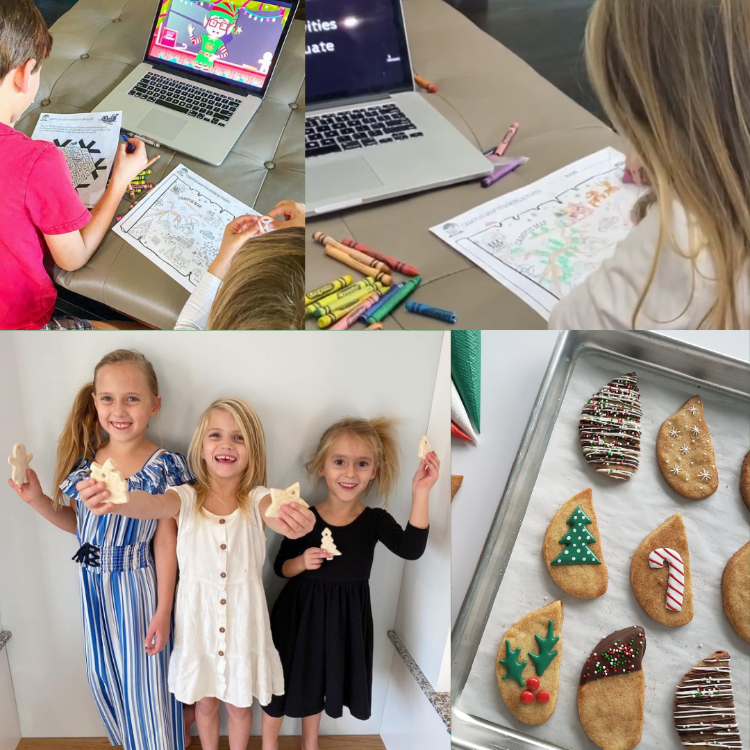 Assortment of images showing kids doing activities at Elf Prep Academy