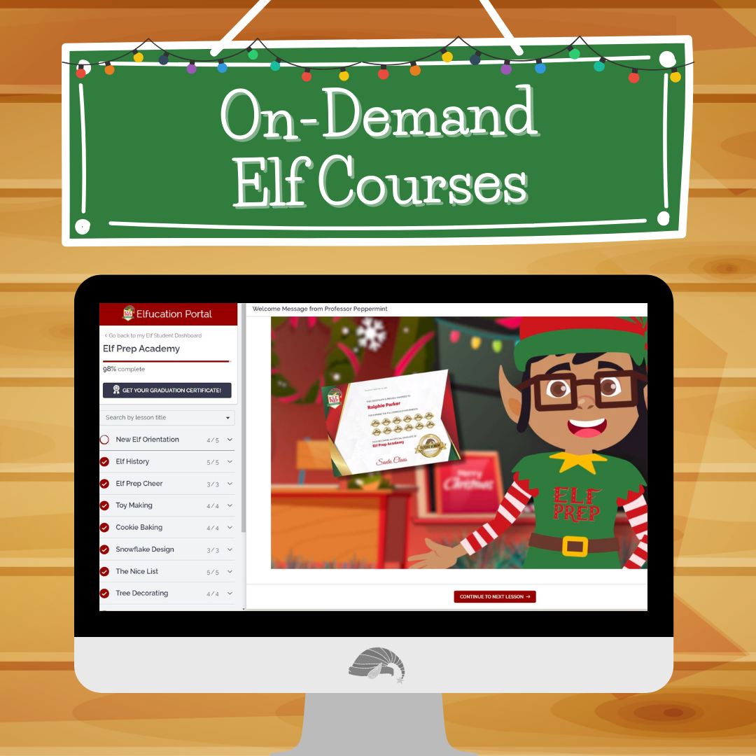 Text reads On-Demand Elf Courses showing a laptop with the Elf Prep Elfucation learning platform screenshot