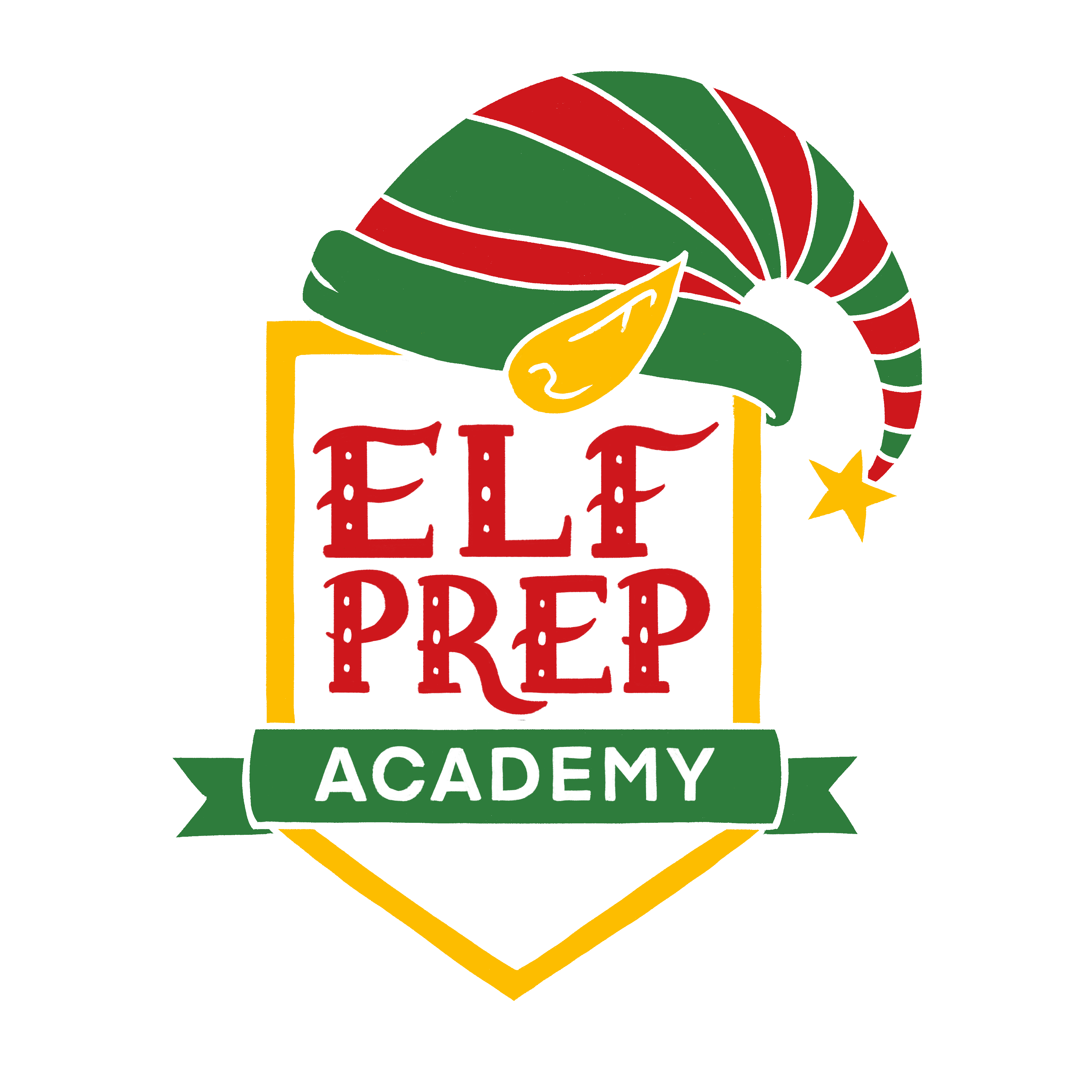 Elf Prep Academy Logo which is a gold shield with Elf Prep Academy text written out and a red and green elf hat on top