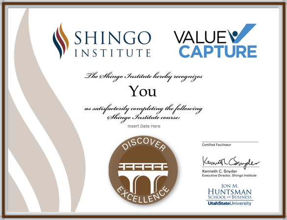 Discover Excellence certificate