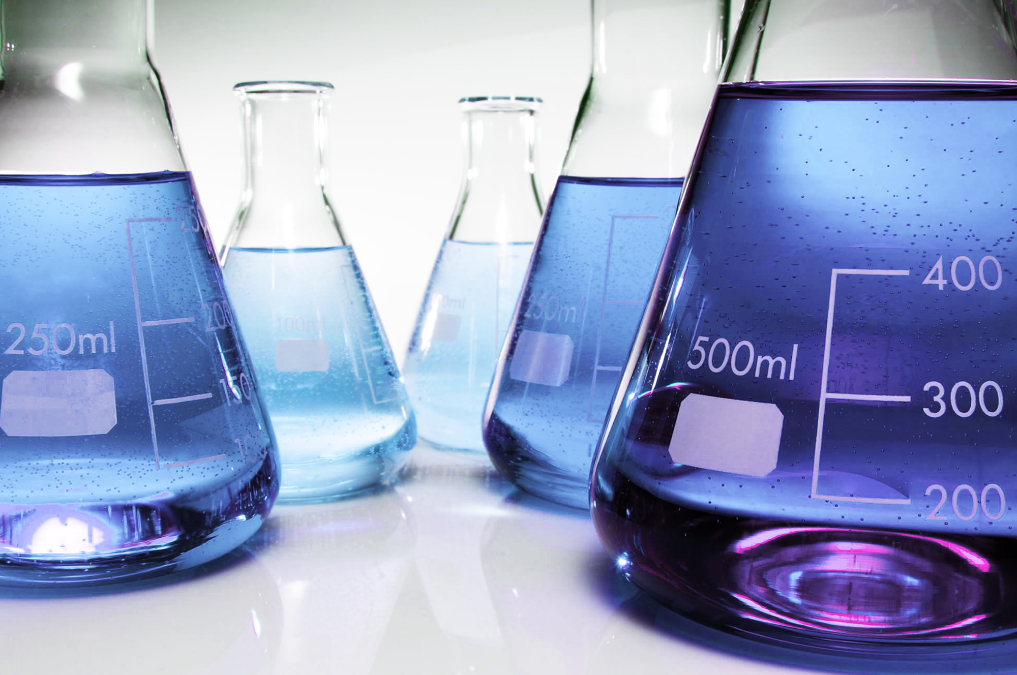 Blue chemical flasks