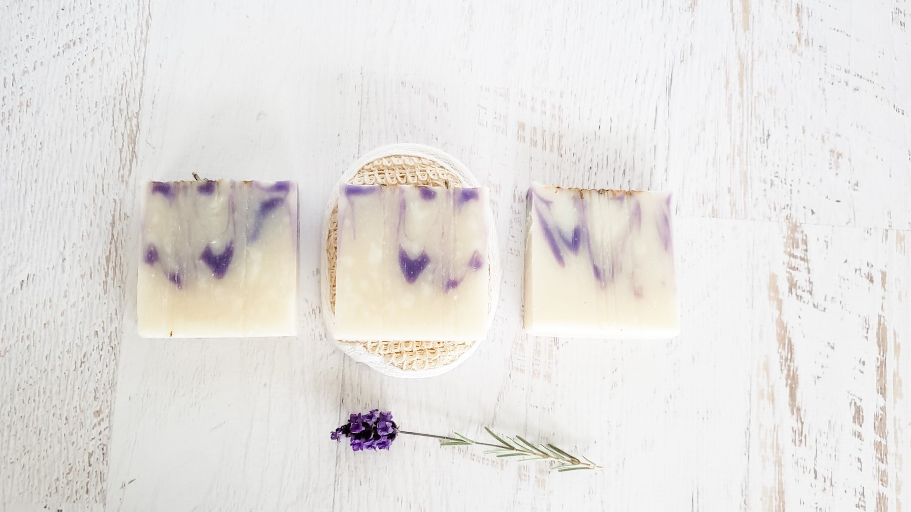 Three bars of lavender soap