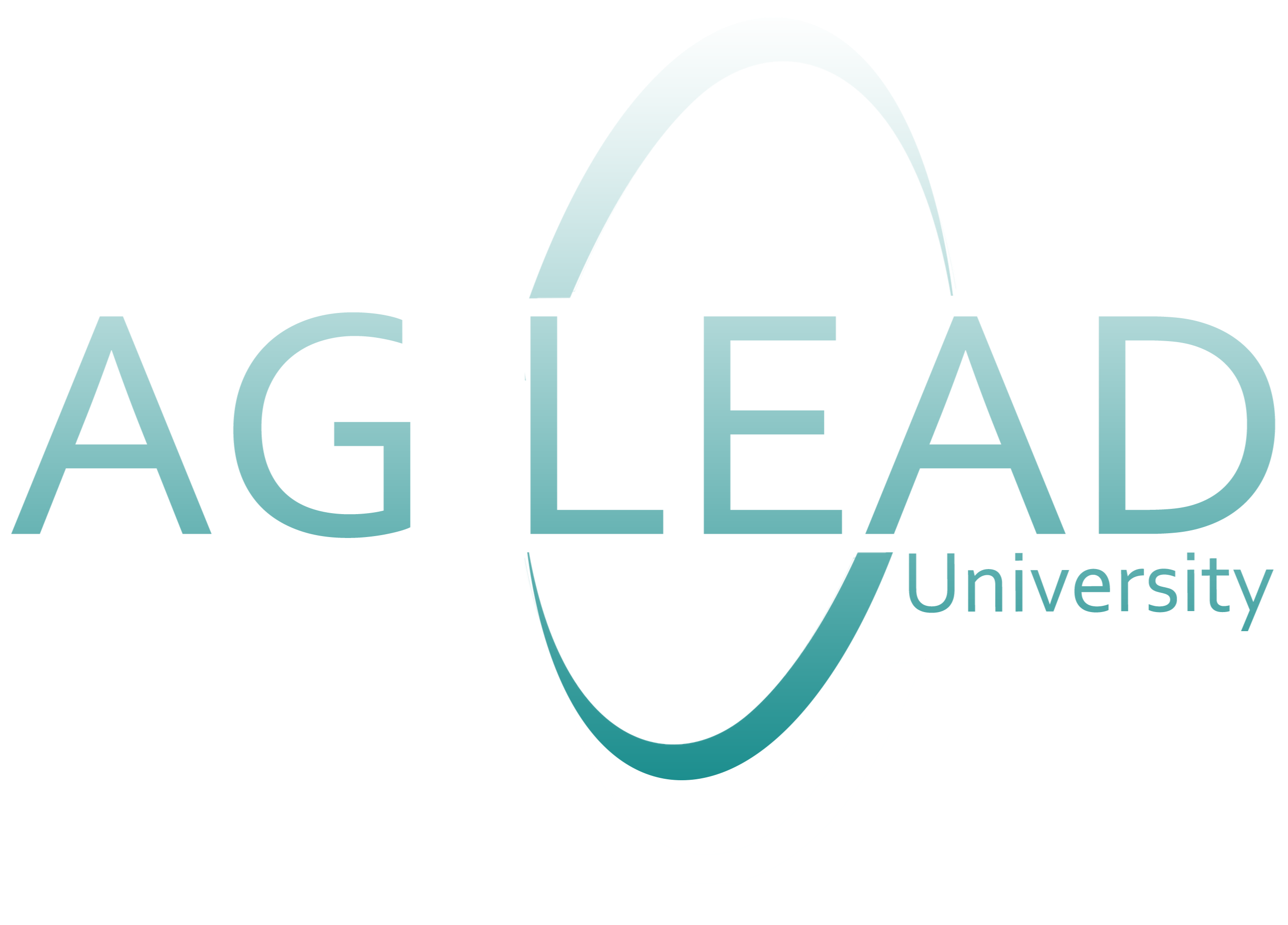 Ag Lead University in teal and white gradient with a circle around the end of Ag and beginning of Lead