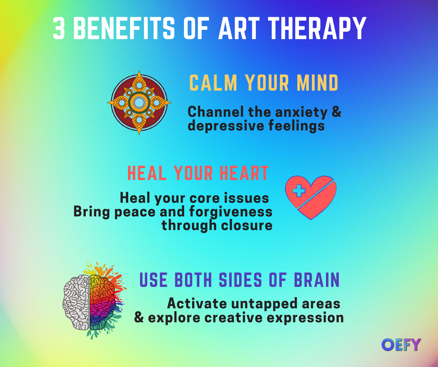 3 Benefits of Art Therapy Infographic