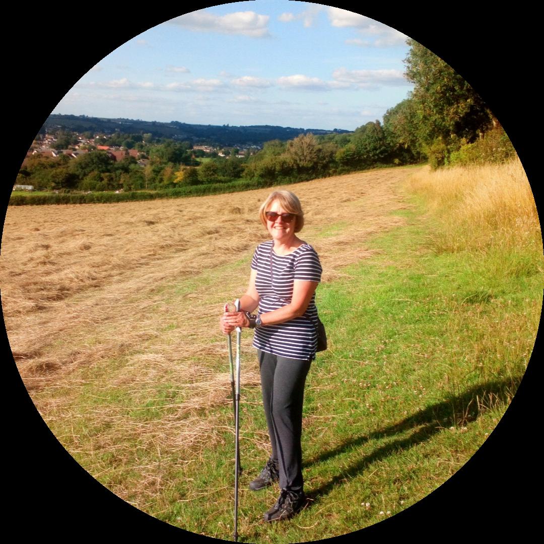Bridget enjoying a Nordic Walk in the great outdoors!