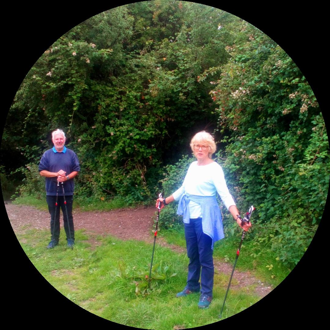 John & Jane still standing & smiling post walk