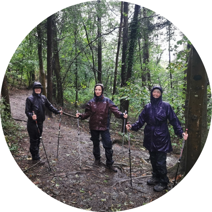 It's that wet wet day at Greyfield Wood - still smiling though!