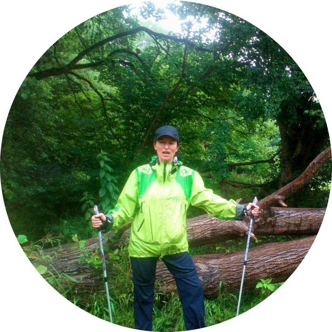 A wet Nordic walking morning - joyful!