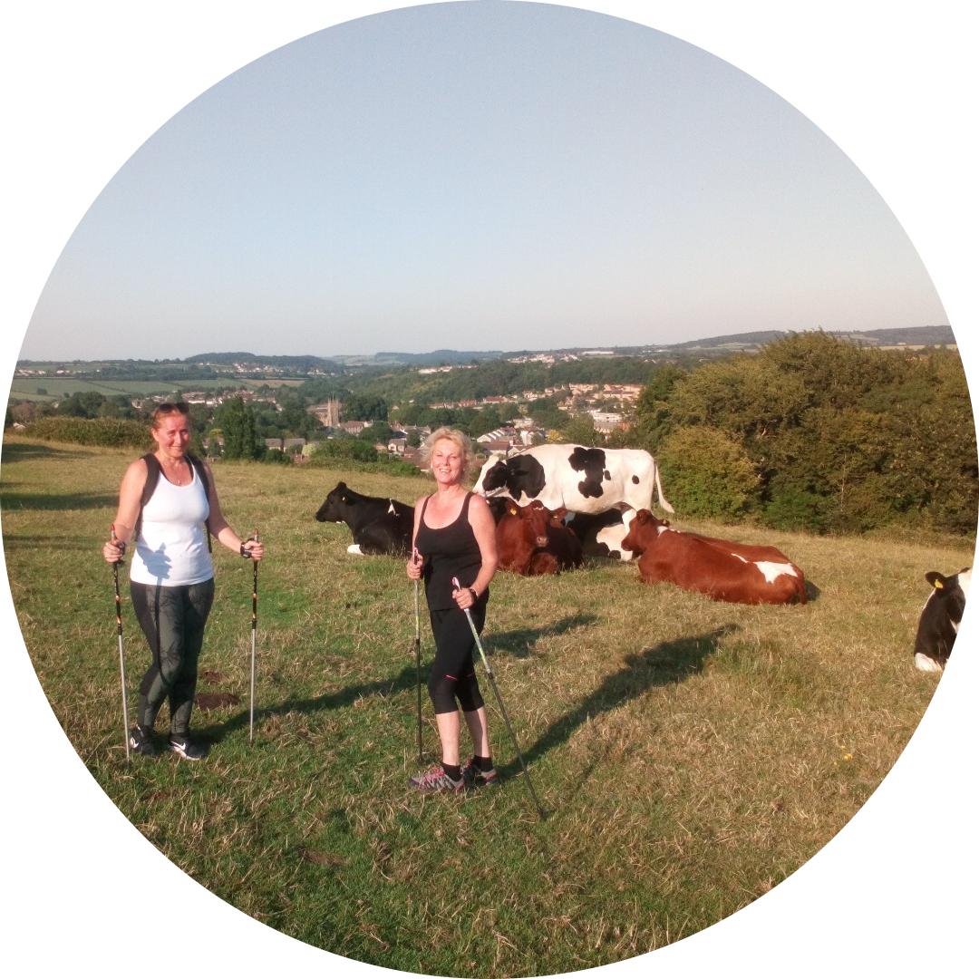 Gorgeous Debbs & Sandra on a hot evening Nordic Walk