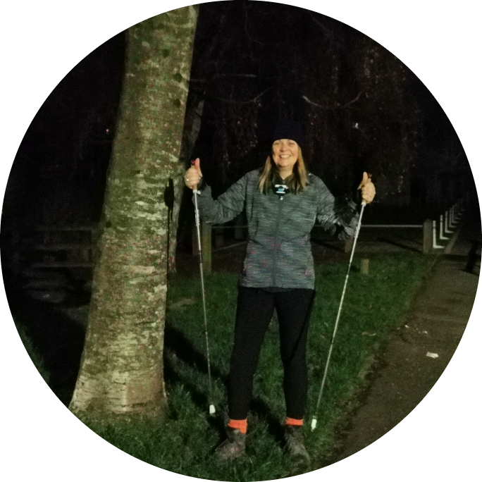 Another night, another nordic walk with the lovely Denise