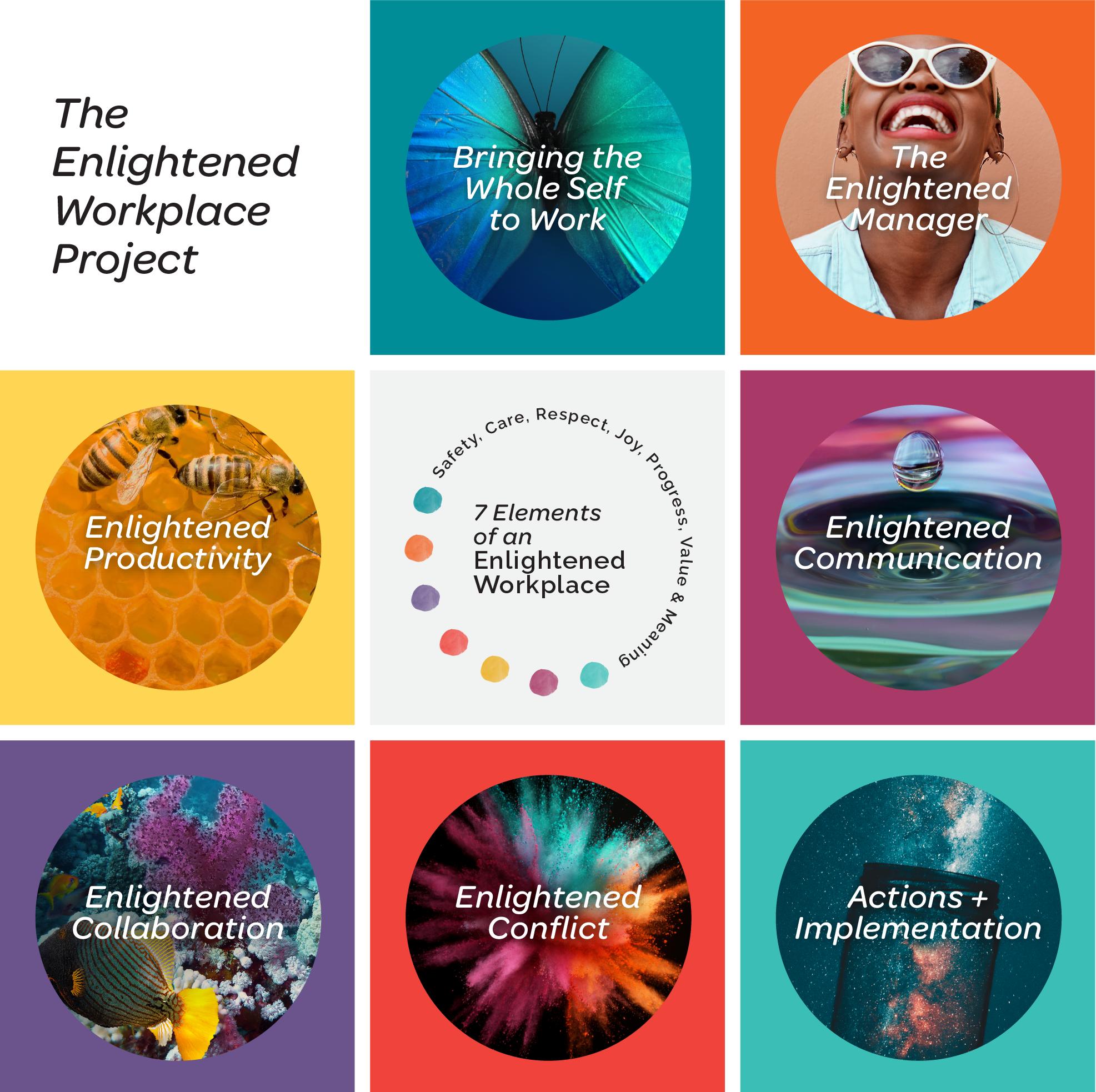The Enlightened Workplace Project includes 7 courses: Bringing the Whole Self to Work, The Enlighened Manager, Enlightened Productivity, Enlightened Communication, Enlightened Collaboration, Enlightened Conflict, and Actions + Implementations.