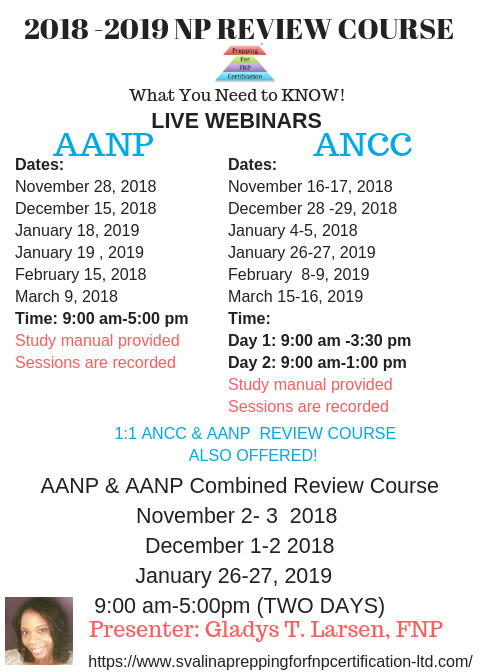 2018-2019 Nurse Practitioner Review Course Schedule