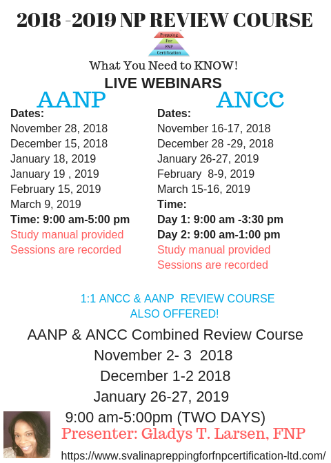 Nurse Practitioner Review Course Schedule