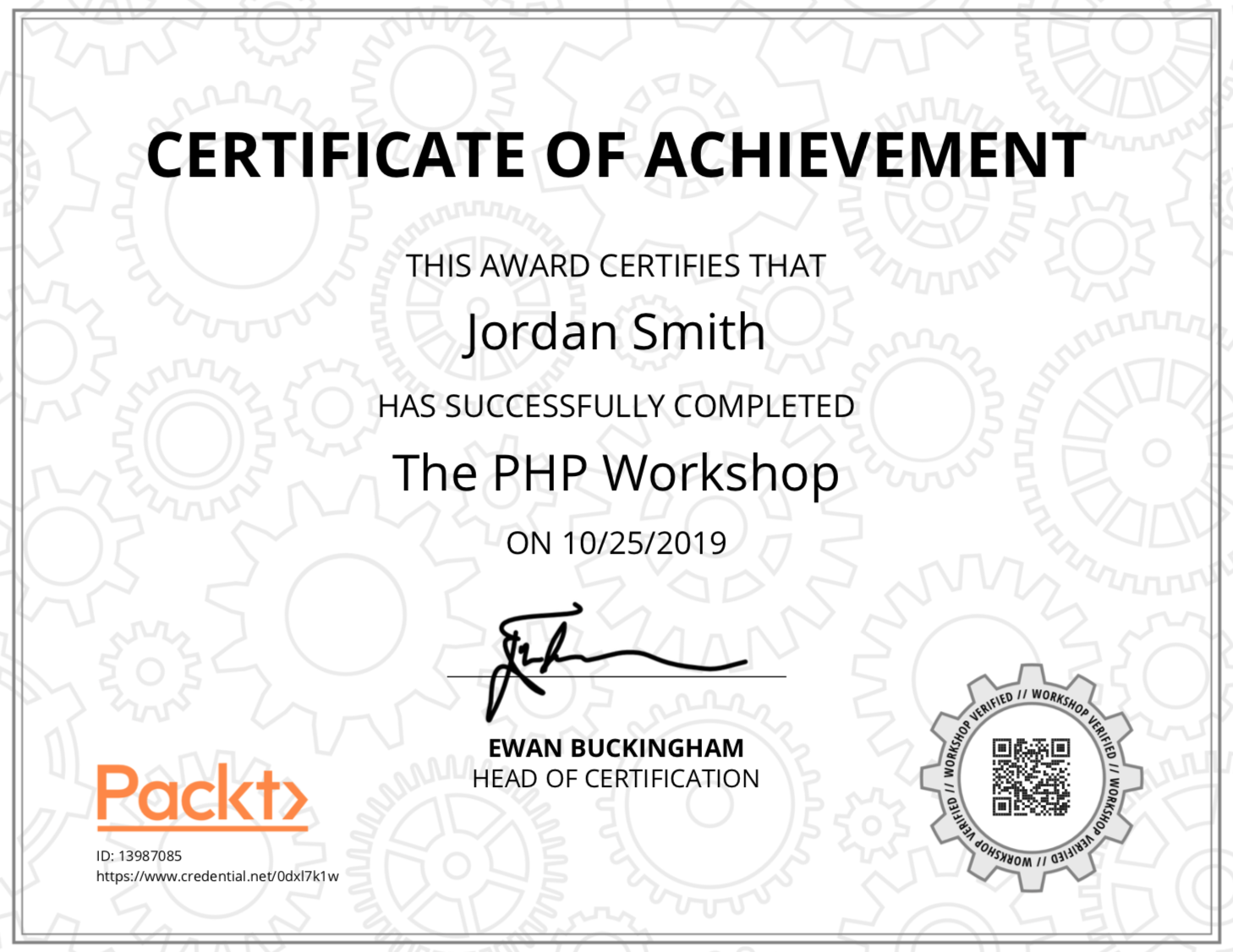 A copy of a certificate for The PHP Workshop