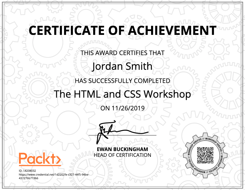 A copy of a certificate for The HTML and CSS Workshop