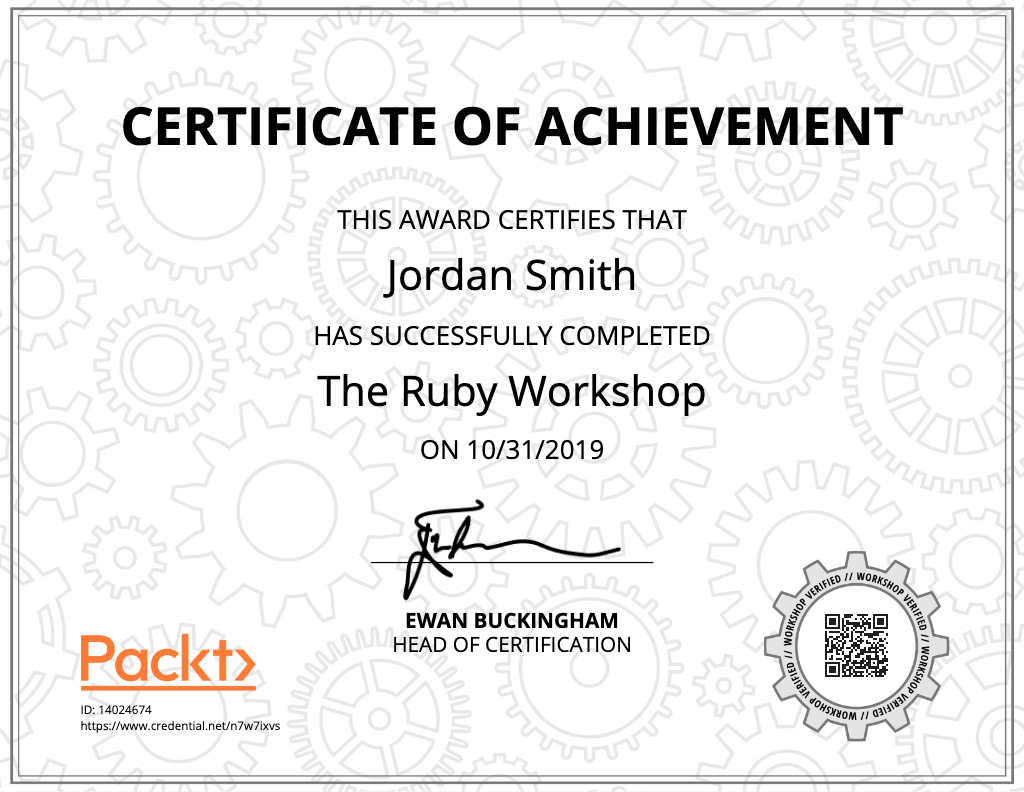 A copy of a certificate for The Ruby Workshop