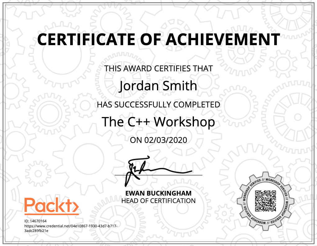 A copy of a certificate of The C++ Workshop