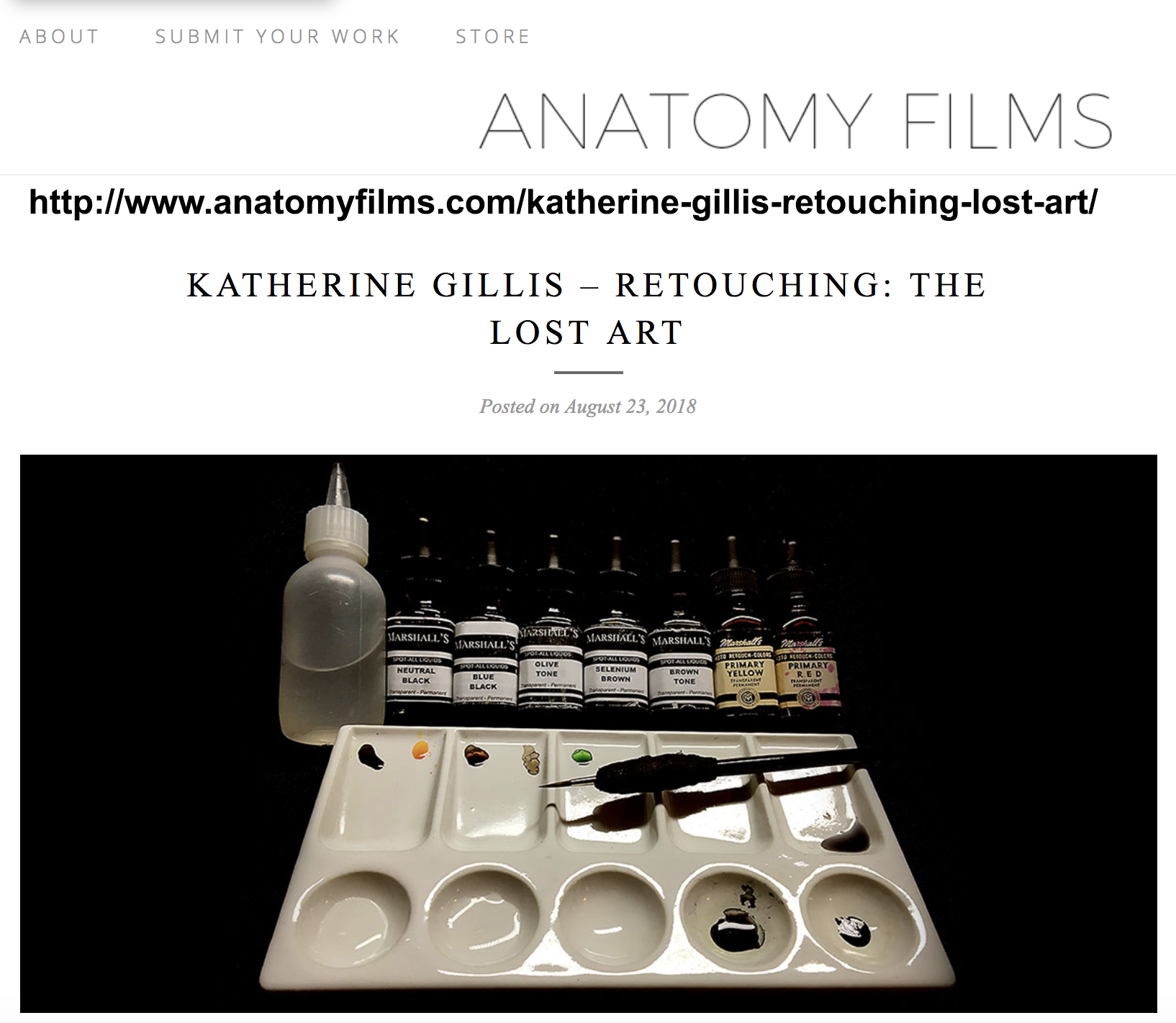 Anatomy Films Articles on course