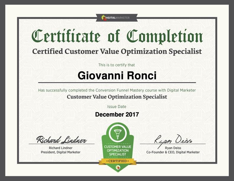 Customer value optimization specialist