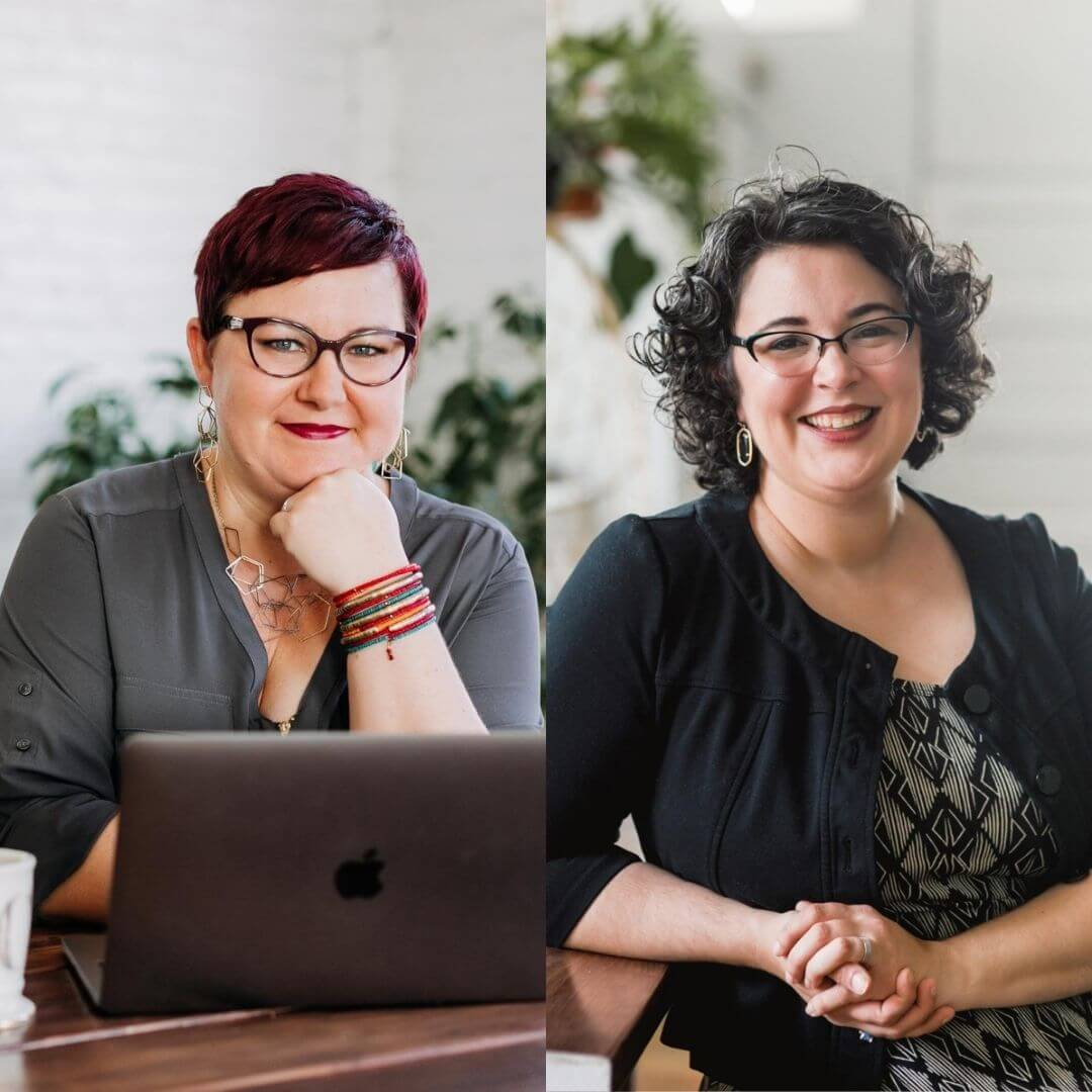 Professional Academic Editing - Cathy Hannabach wearing a grey shirt and sitting in front of a laptop; Sarah Grey wearing a black and white dress leaning against a desk