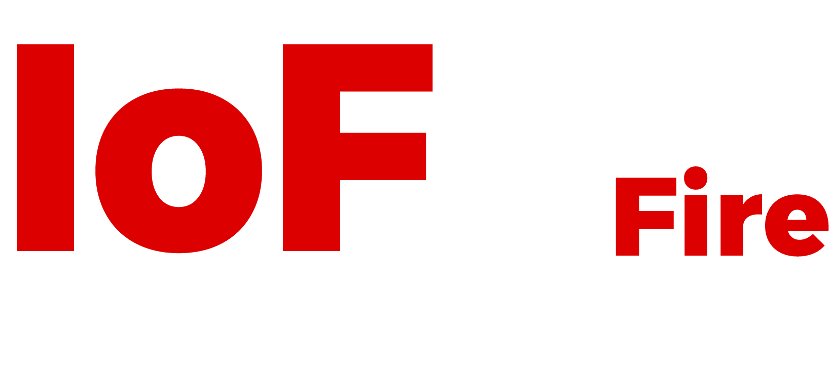 Ideas on Fire logo, name in white and red