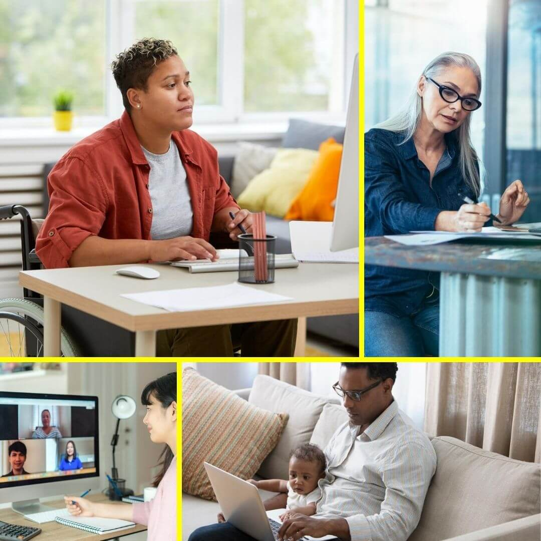 Professional Academic Editing - Image collage: Person edits by hand on paper, person works at a desk computer, parent holds a baby on their lap while working on a laptop, person meets with others via video chat