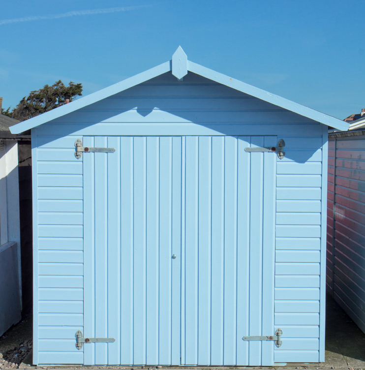Blue beach hut