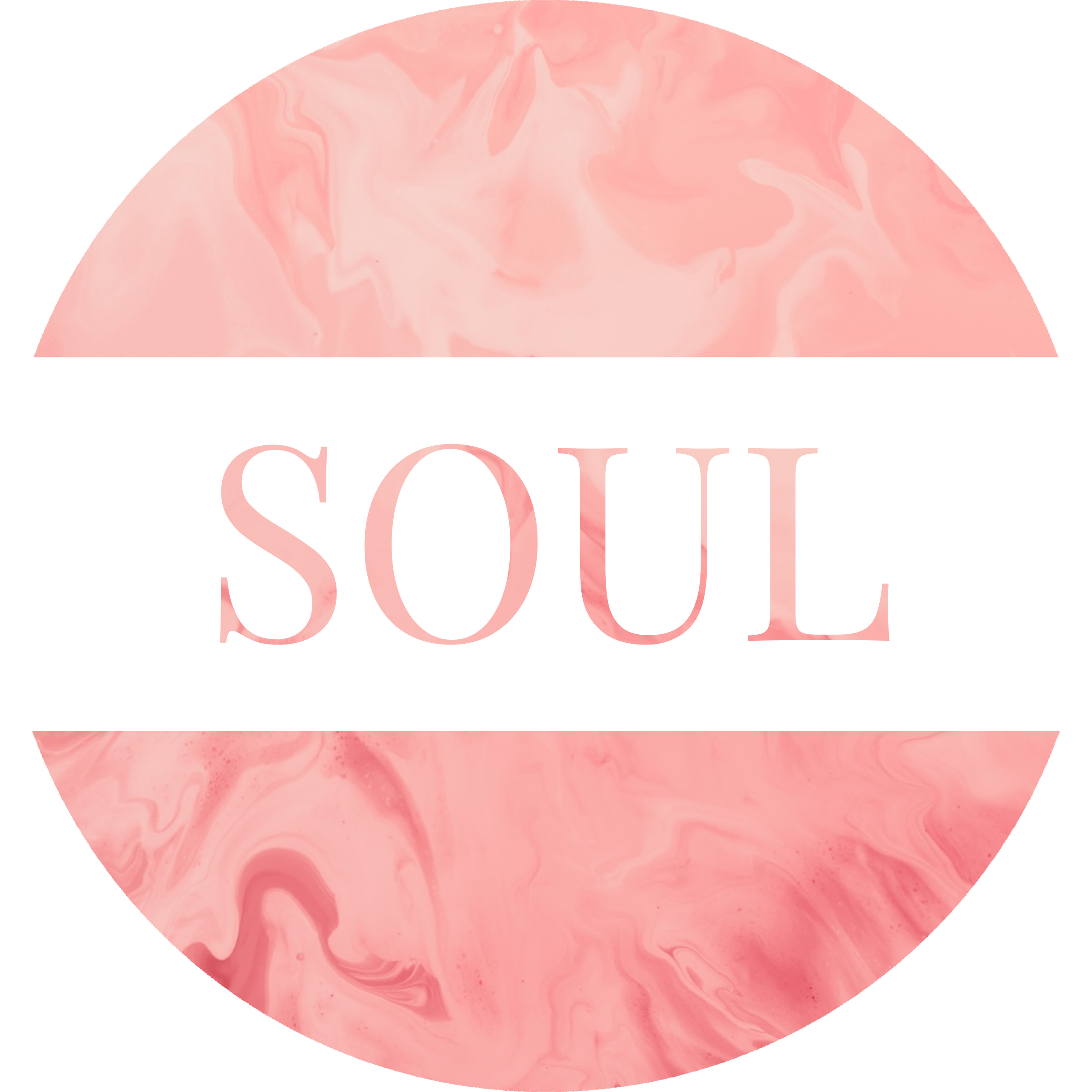 Round image in a swirly light pink with a white banner running through the middle with the word SOUL in the swirly pink color.