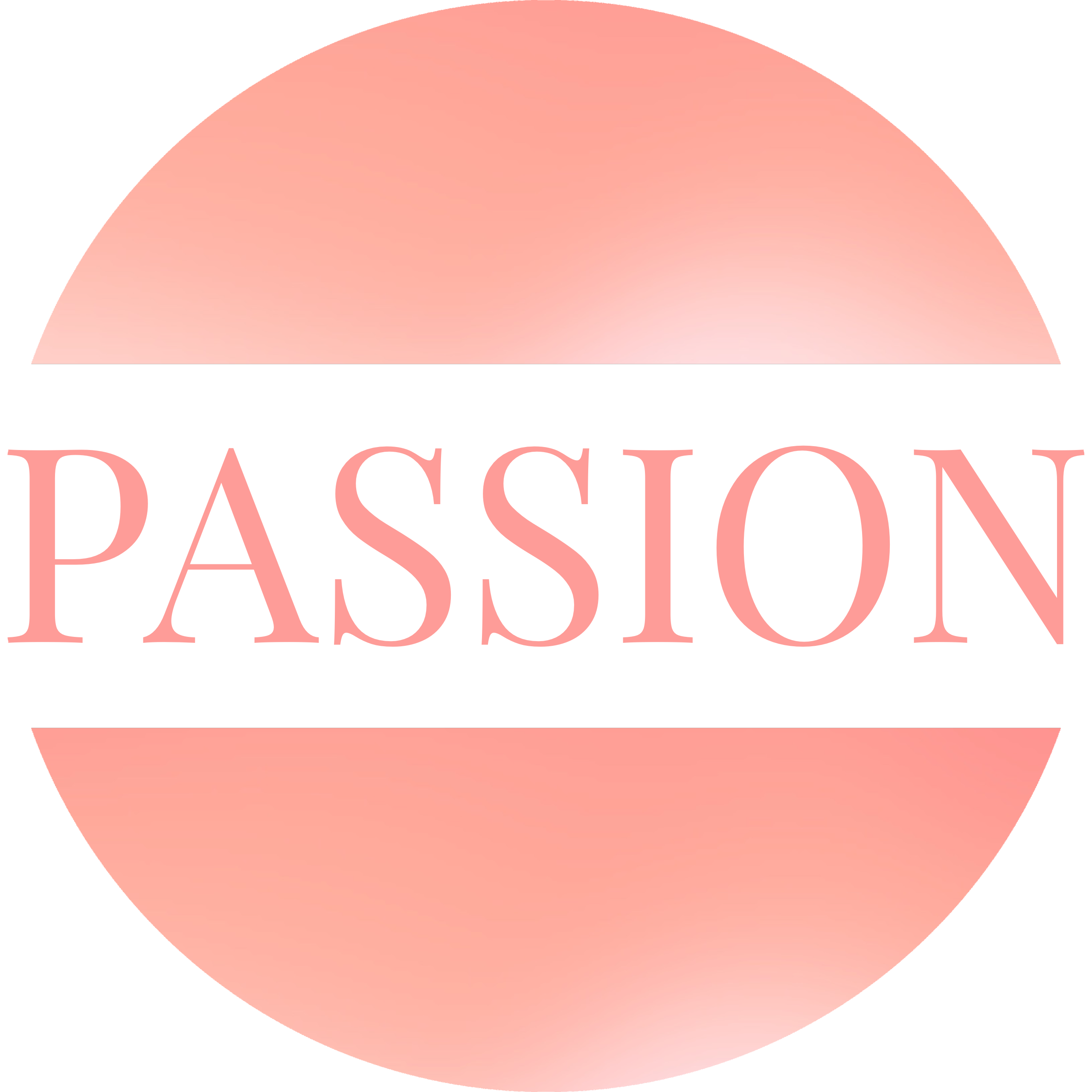 Round image in a glowing light pink with a white banner running through the middle with the word PASSION in a matching light pink.