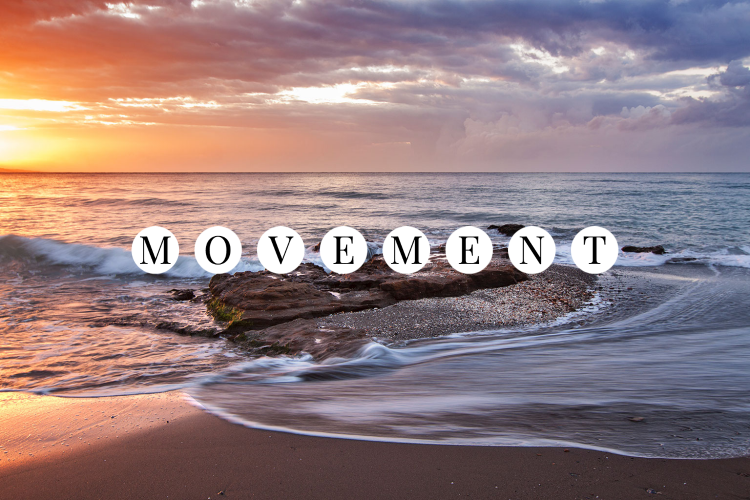 Image of a sunrise over the ocean a wave coming onto shore with the word MOVEMENT.