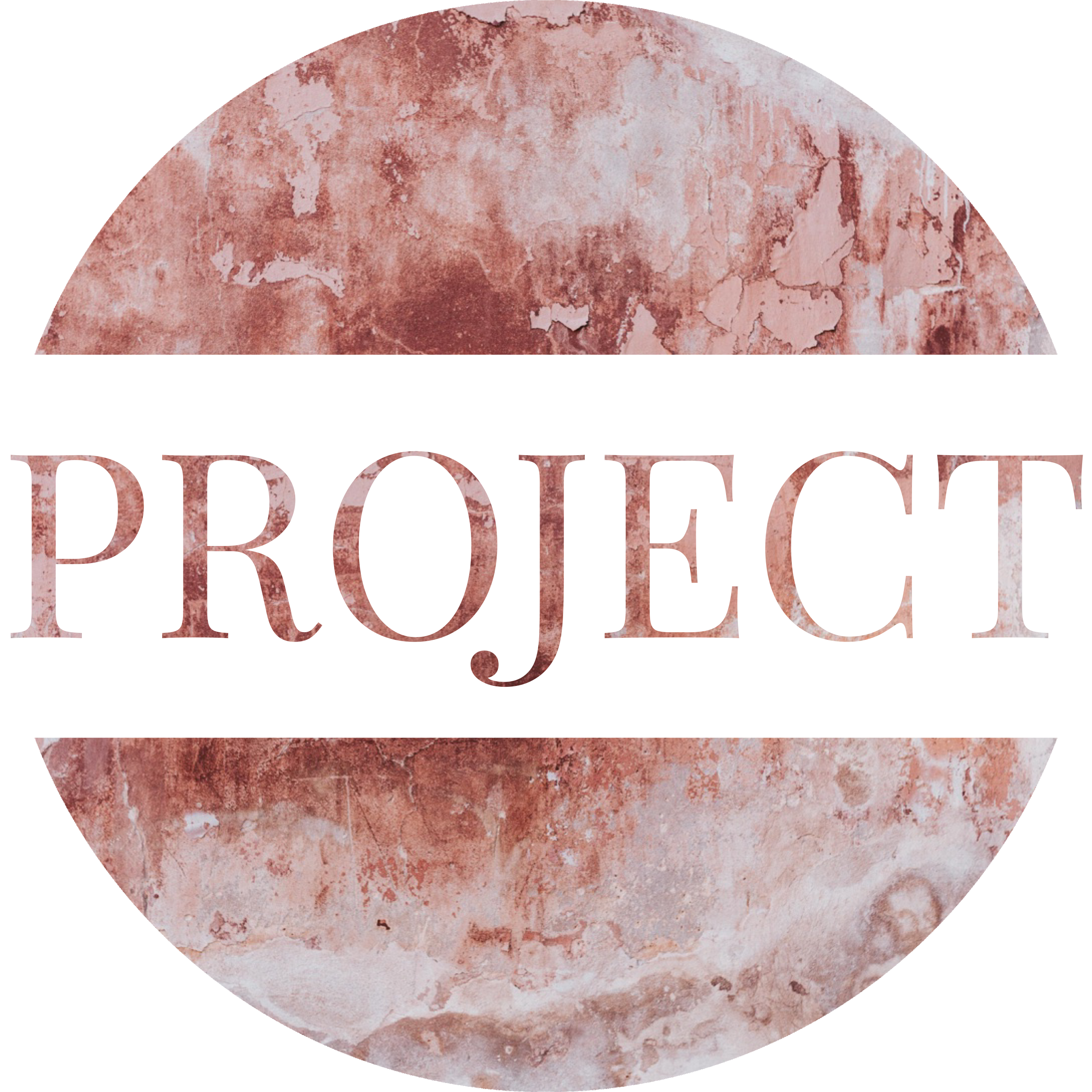 Round image in a brown and grey marble pattern with a white banner running through the center with the word PROJECT in the marble pattern.